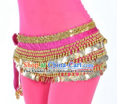 Asian Indian Belly Dance Paillette Rosy Waist Accessories Waistband India Raks Sharki Belts for Women