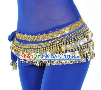 Asian Indian Belly Dance Paillette Royalblue Waist Accessories Waistband India Raks Sharki Belts for Women