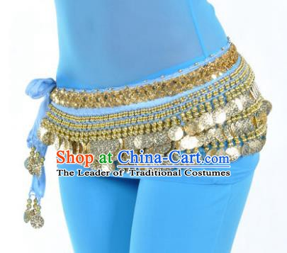 Asian Indian Belly Dance Paillette Blue Waist Accessories Waistband India Raks Sharki Belts for Women