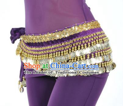 Asian Indian Belly Dance Paillette Purple Waist Accessories Waistband India Raks Sharki Belts for Women