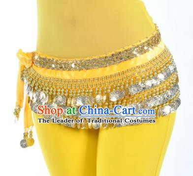 Asian Indian Belly Dance Paillette Yellow Waist Accessories Waistband India Raks Sharki Belts for Women
