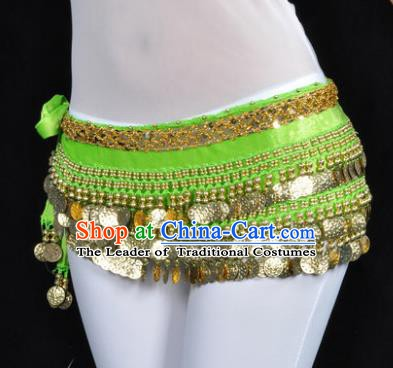 Asian Indian Belly Dance Paillette Green Waist Accessories Waistband India Raks Sharki Belts for Women