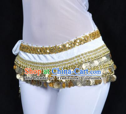 Asian Indian Belly Dance Paillette White Waist Accessories Waistband India Raks Sharki Belts for Women