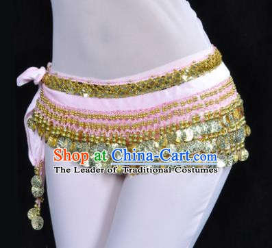 Asian Indian Belly Dance Paillette Pink Waist Accessories Waistband India Raks Sharki Belts for Women