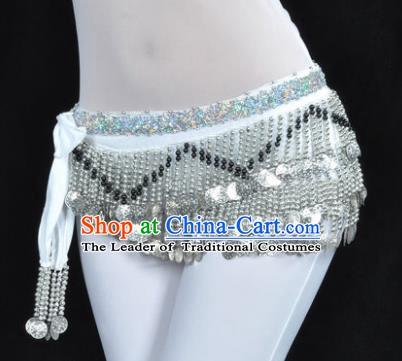 Indian Traditional Belly Dance Paillette White Belts Waistband India Raks Sharki Waist Accessories for Women