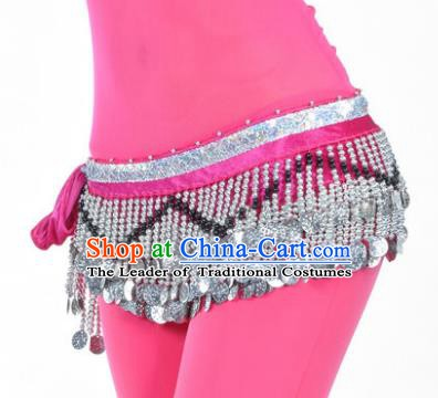 Indian Traditional Belly Dance Paillette Rosy Belts Waistband India Raks Sharki Waist Accessories for Women