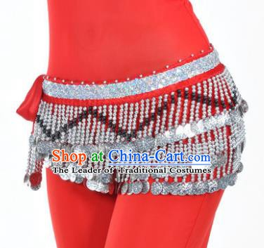 Indian Traditional Belly Dance Paillette Red Belts Waistband India Raks Sharki Waist Accessories for Women