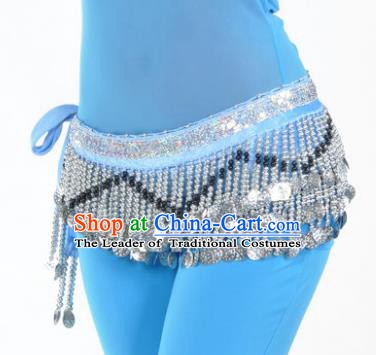 Indian Traditional Belly Dance Paillette Blue Belts Waistband India Raks Sharki Waist Accessories for Women