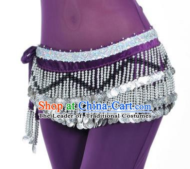 Indian Traditional Belly Dance Paillette Purple Belts Waistband India Raks Sharki Waist Accessories for Women