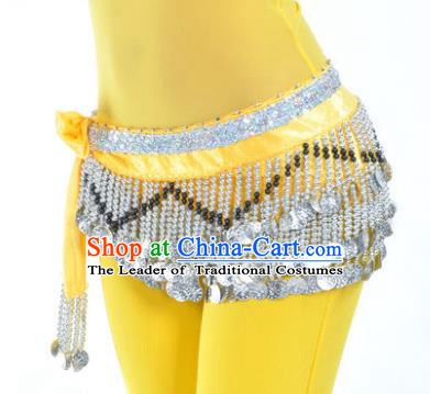 Indian Traditional Belly Dance Paillette Yellow Belts Waistband India Raks Sharki Waist Accessories for Women