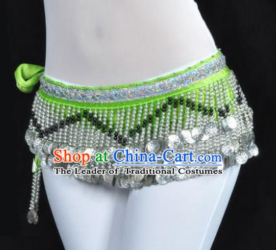 Indian Traditional Belly Dance Paillette Green Belts Waistband India Raks Sharki Waist Accessories for Women