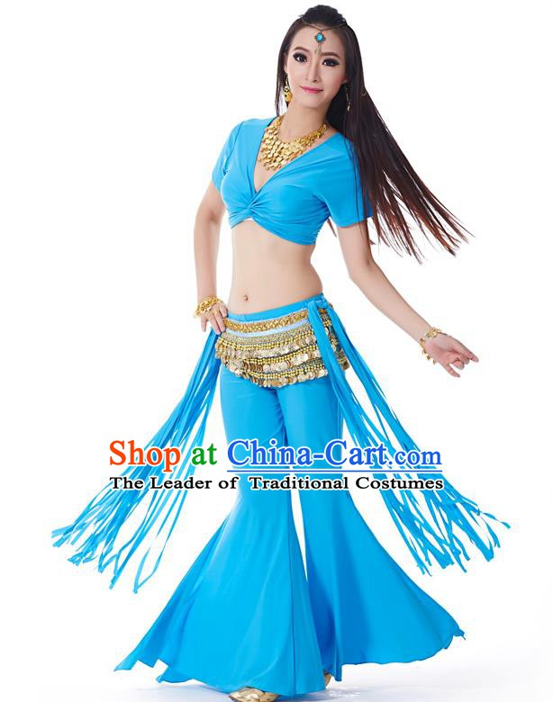 Indian Belly Dance Costume India Raks Sharki Blue Uniform Oriental Dance Clothing for Women