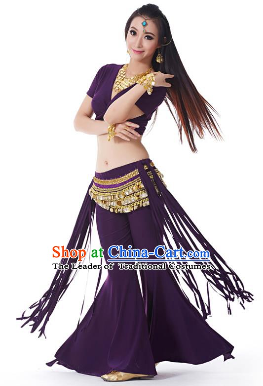 Indian Belly Dance Costume India Raks Sharki Purple Uniform Oriental Dance Clothing for Women