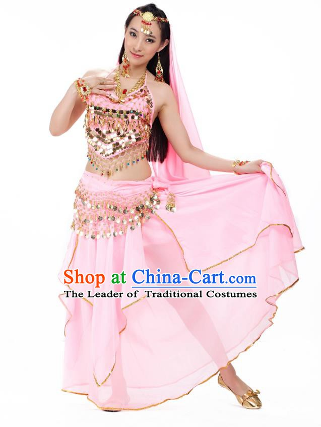 Asian Indian Belly Dance Pink Costume Stage Performance Outfits, India Raks Sharki Dress for Women
