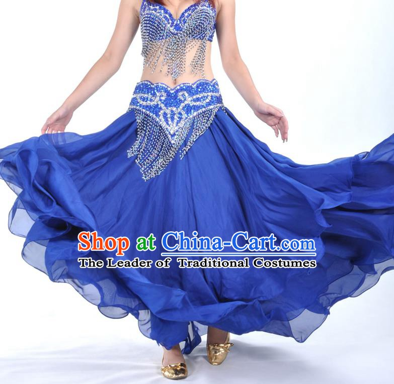 Asian Indian Belly Dance Costume Stage Performance Royalblue Expansion Skirt, India Raks Sharki Dress for Women