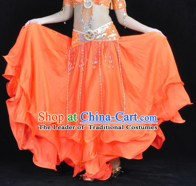 Asian Indian Belly Dance Costume Stage Performance Orange Expansion Skirt, India Raks Sharki Dress for Women