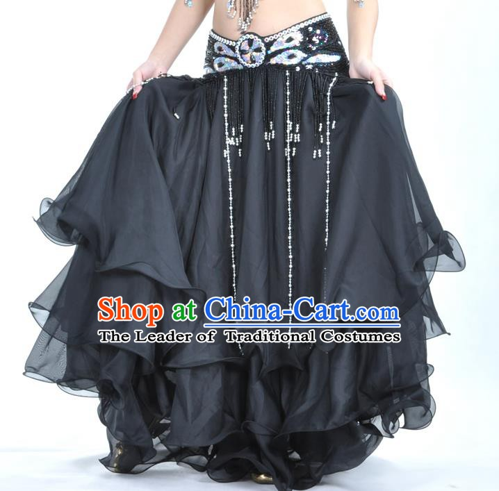 Asian Indian Belly Dance Costume Stage Performance Black Expansion Skirt, India Raks Sharki Dress for Women