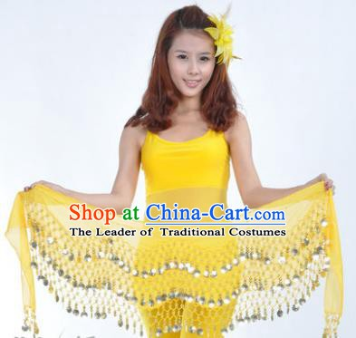 Asian Indian Belly Dance Waist Accessories Yellow Waistband India Raks Sharki Belts for Women