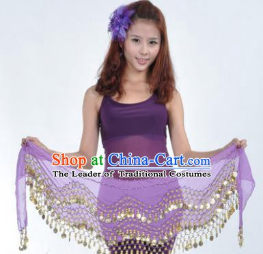 Asian Indian Belly Dance Waist Accessories Purple Waistband India Raks Sharki Belts for Women