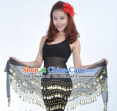 Asian Indian Belly Dance Waist Accessories Black Waistband India Raks Sharki Belts for Women