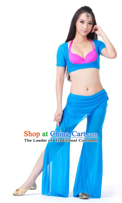 Asian Indian Belly Dance Blue Uniform India Raks Sharki Dress Oriental Dance Clothing for Women