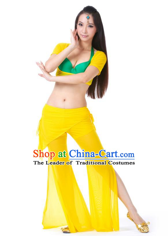 Asian Indian Belly Dance Yellow Uniform India Raks Sharki Dress Oriental Dance Clothing for Women