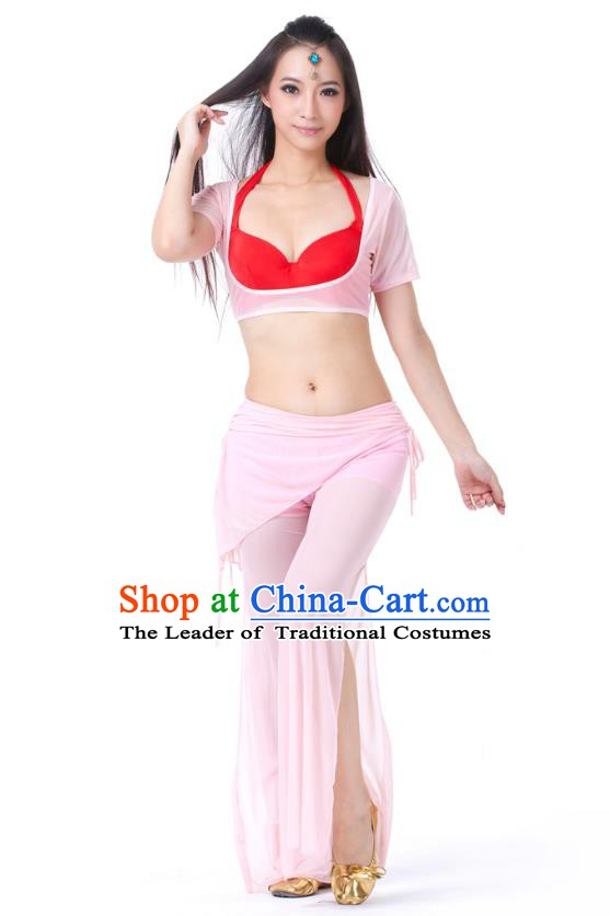 Asian Indian Belly Dance Pink Uniform India Raks Sharki Dress Oriental Dance Clothing for Women
