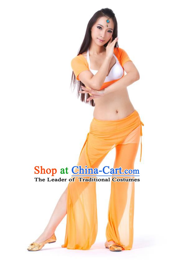 Asian Indian Belly Dance Orange Uniform India Raks Sharki Dress Oriental Dance Clothing for Women