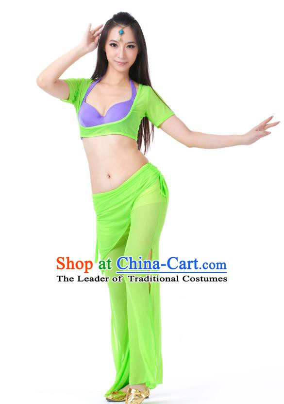 Asian Indian Belly Dance Green Uniform India Raks Sharki Dress Oriental Dance Clothing for Women
