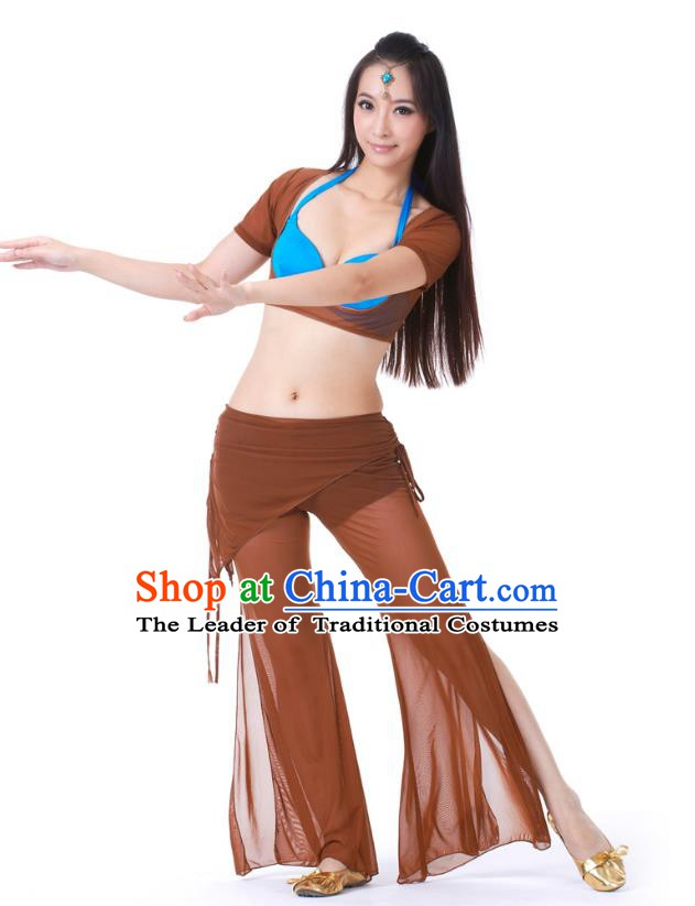 Asian Indian Belly Dance Brown Uniform India Raks Sharki Dress Oriental Dance Clothing for Women