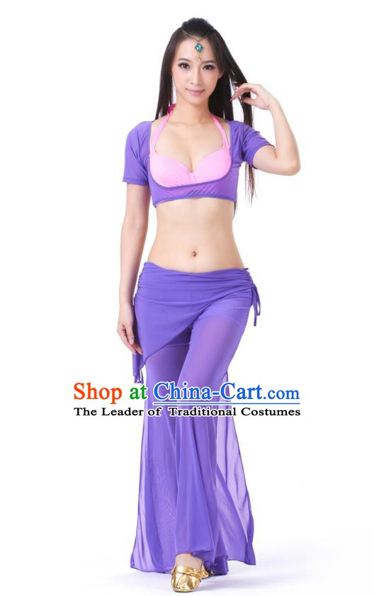 Asian Indian Belly Dance Bluish Violet Uniform India Raks Sharki Dress Oriental Dance Clothing for Women
