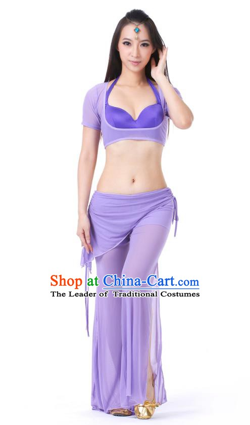 Asian Indian Belly Dance Lilac Uniform India Raks Sharki Dress Oriental Dance Clothing for Women
