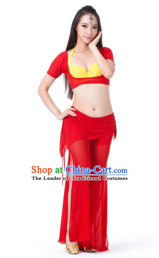 Asian Indian Belly Dance Red Uniform India Raks Sharki Dress Oriental Dance Clothing for Women