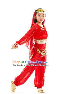 Asian Indian Belly Dance Uniform India Raks Sharki Dress Oriental Dance Red Clothing for Kids