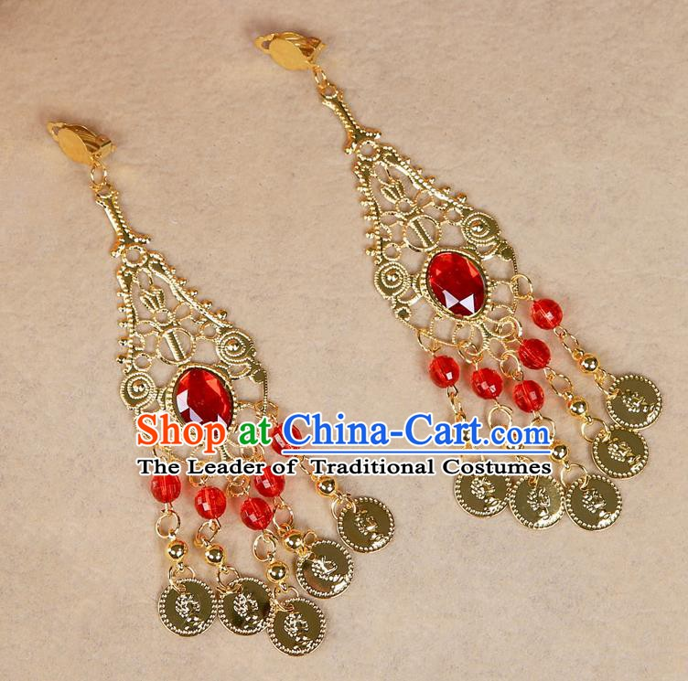 Asian Indian Belly Dance Tassel Accessories Red Crystal Earrings for Women