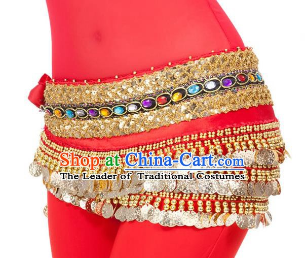 Asian Indian Belly Dance Diamante Waist Accessories Red Waistband India Raks Sharki Belts for Women