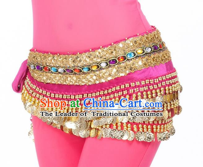 Asian Indian Belly Dance Diamante Waist Accessories Rosy Waistband India Raks Sharki Belts for Women