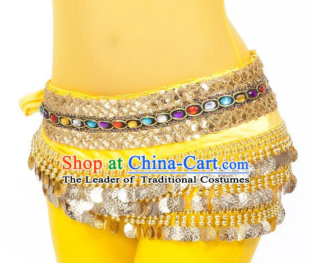Asian Indian Belly Dance Diamante Waist Accessories Yellow Waistband India Raks Sharki Belts for Women