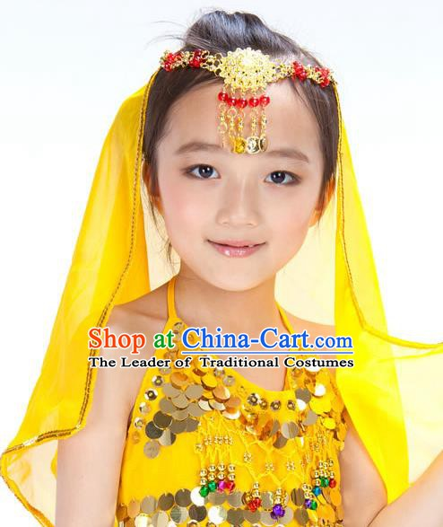 Asian Indian Belly Dance Hair Accessories Frontlet and Veil for for Kids