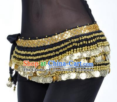 Asian Indian Traditional Belly Dance Black Waist Accessories Waistband India Raks Sharki Belts for Women