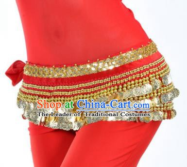 Asian Indian Traditional Belly Dance Red Waist Accessories Waistband India Raks Sharki Belts for Women