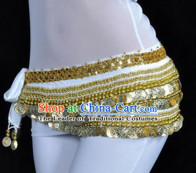 Asian Indian Traditional Belly Dance White Waist Accessories Waistband India Raks Sharki Belts for Women