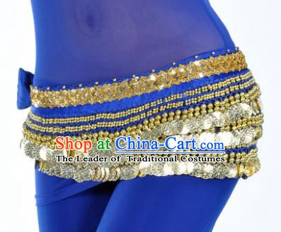 Asian Indian Traditional Belly Dance Royalblue Waist Accessories Waistband India Raks Sharki Belts for Women