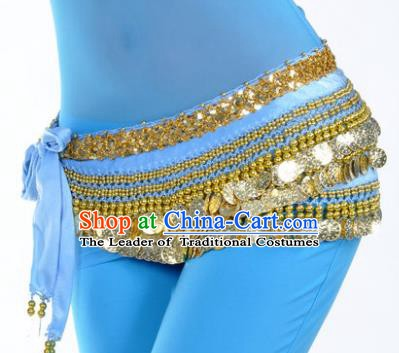 Asian Indian Traditional Belly Dance Blue Waist Accessories Waistband India Raks Sharki Belts for Women