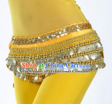 Asian Indian Traditional Belly Dance Yellow Waist Accessories Waistband India Raks Sharki Belts for Women