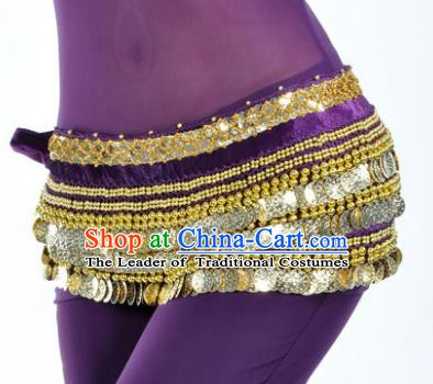 Asian Indian Traditional Belly Dance Purple Waist Accessories Waistband India Raks Sharki Belts for Women