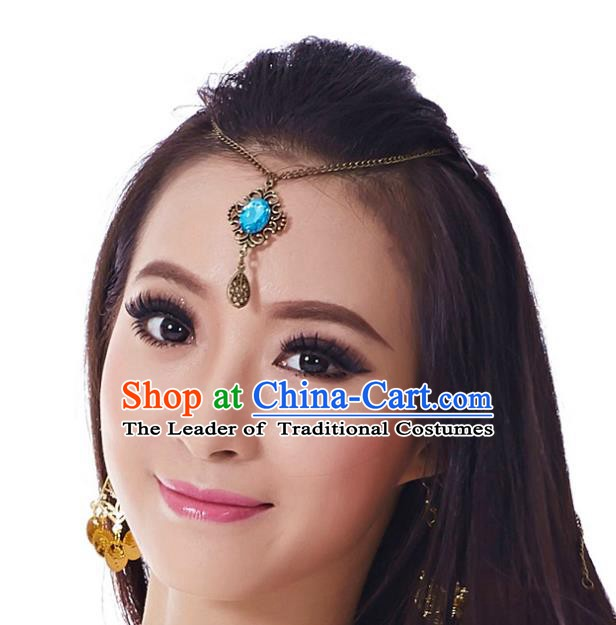 Asian Indian Belly Dance Hair Accessories Frontlet Blue Crystal Hair Clasp for for Women