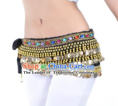 Asian Indian Traditional Belly Dance Black Belts Waistband India Raks Sharki Waist Accessories for Women