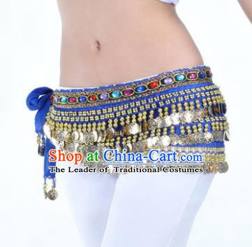 Asian Indian Traditional Belly Dance Royalblue Belts Waistband India Raks Sharki Waist Accessories for Women