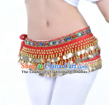 Asian Indian Traditional Belly Dance Red Belts Waistband India Raks Sharki Waist Accessories for Women